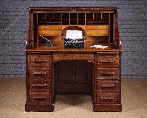 Edwardian Oak Roll Top Desk C 1910 Antiques Atlas