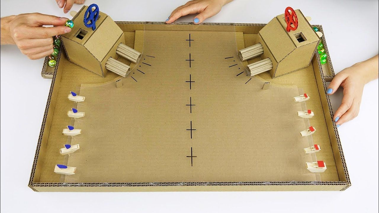 DIY Warship Battle Marble Board Game from Cardboard at