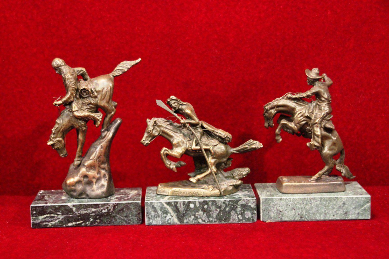 Remington Bronze Statue Desk Set Broncho Warrior Mountain Man