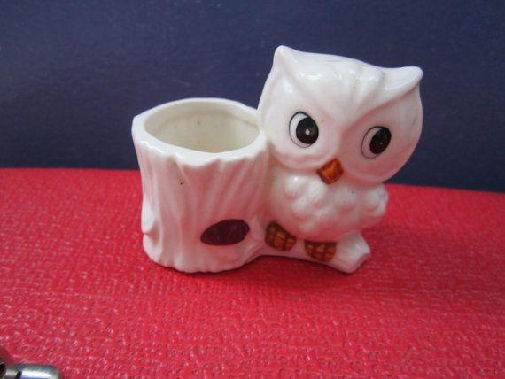 Sweet little owl toothpick holder or planter by SparklingSuitcase, $6.00