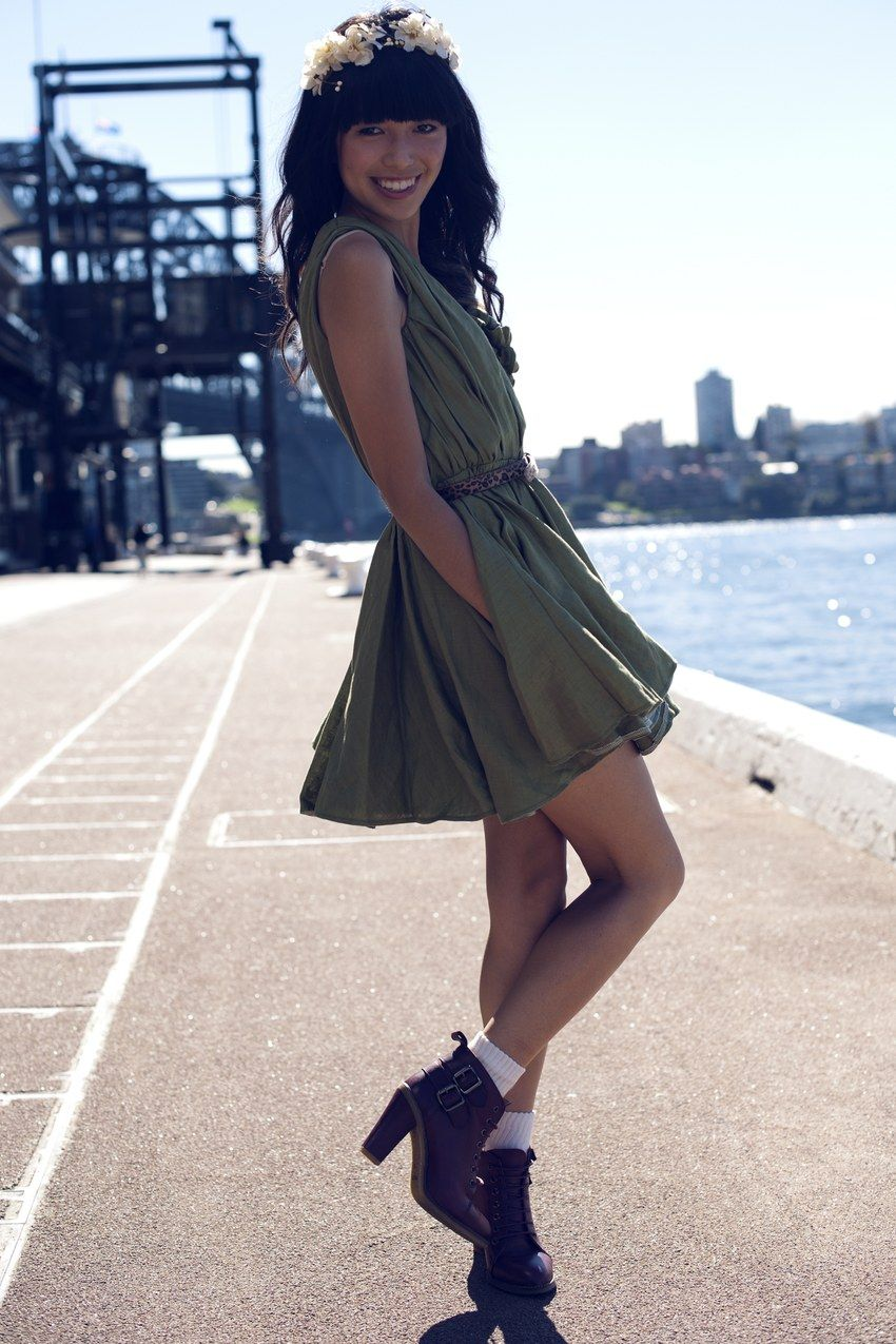 Green dress and boots with socks fashion pinterest socks