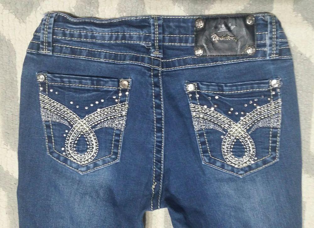 31244830967 Vivi Diva Jeans 4 27 dark Thick Stitch Bling Miss Junior Womens Skinny  Stretch