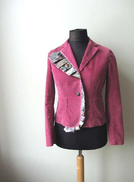 Pink Corduroy Blazer, Upcycled Jacket, Womens Blazer Jacket ...