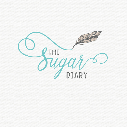 "I focused on the letter 'sugar' and emphasized w/ feminine font while keeping the other words more simple but hand-drawn. The ""feather"" is the icon of the brand any by hand drawing it, it creates an organic and personalized look.  Overall, something clean, delicate yet feminine and organic looking logo. :)"