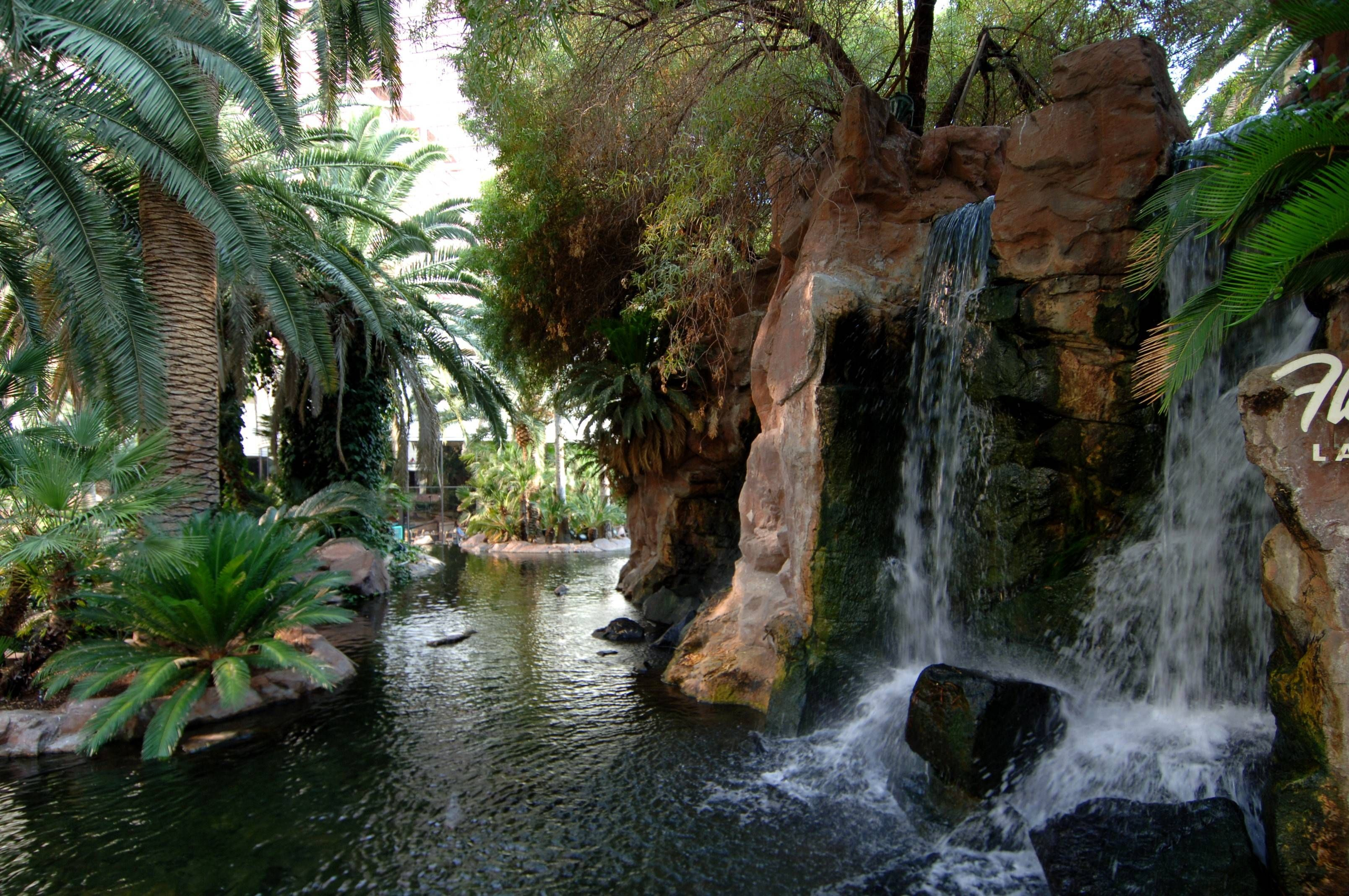 Flamingo Hotel's beautiful garden with waterfalls and