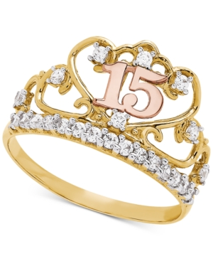 1cf0c5d30 Cubic Zirconia Quinceanera Ring in 14k Gold, Rose Gold & Rhodium-Plate -  Tricolor