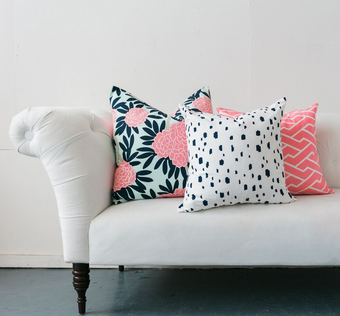 Navy fleur chinoise pillow pillows navy and bricks