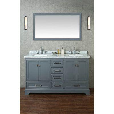 """stufurhome newport 60"""" double sink bathroom vanity set with mirror"""