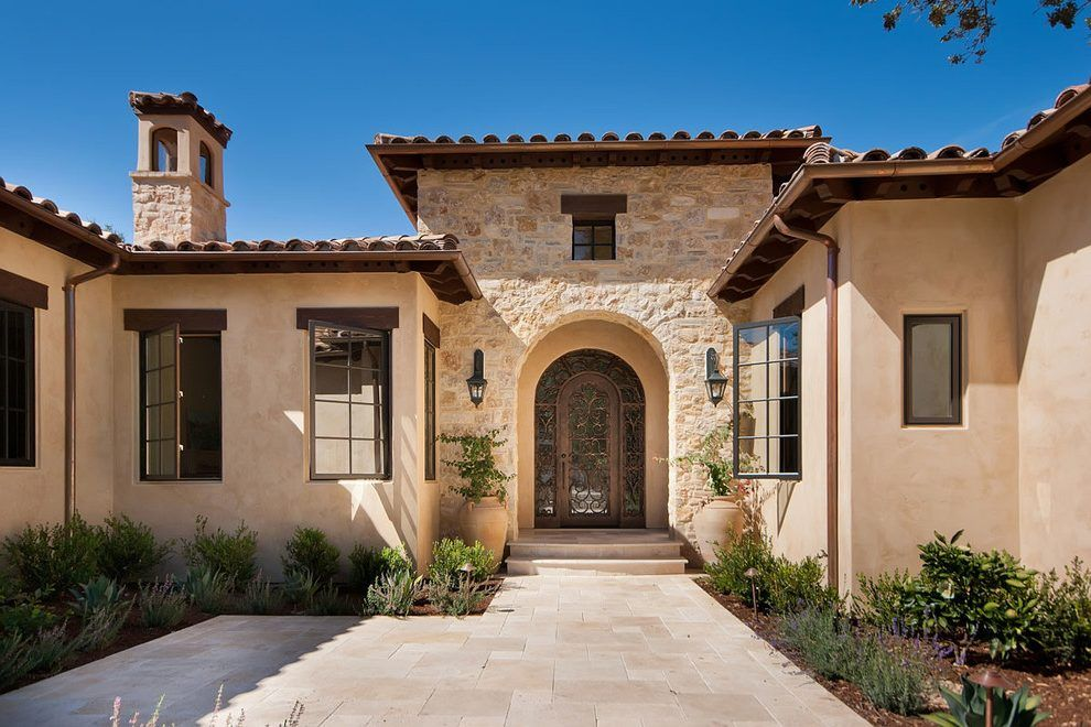 Beige stucco siding exterior mediterranean with stone for Mediterranean stucco
