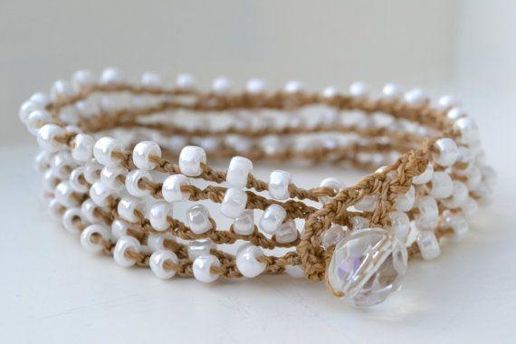 Bohemian surfer crochet wrap bracelet Pearly by jessicasserenity, $32.00