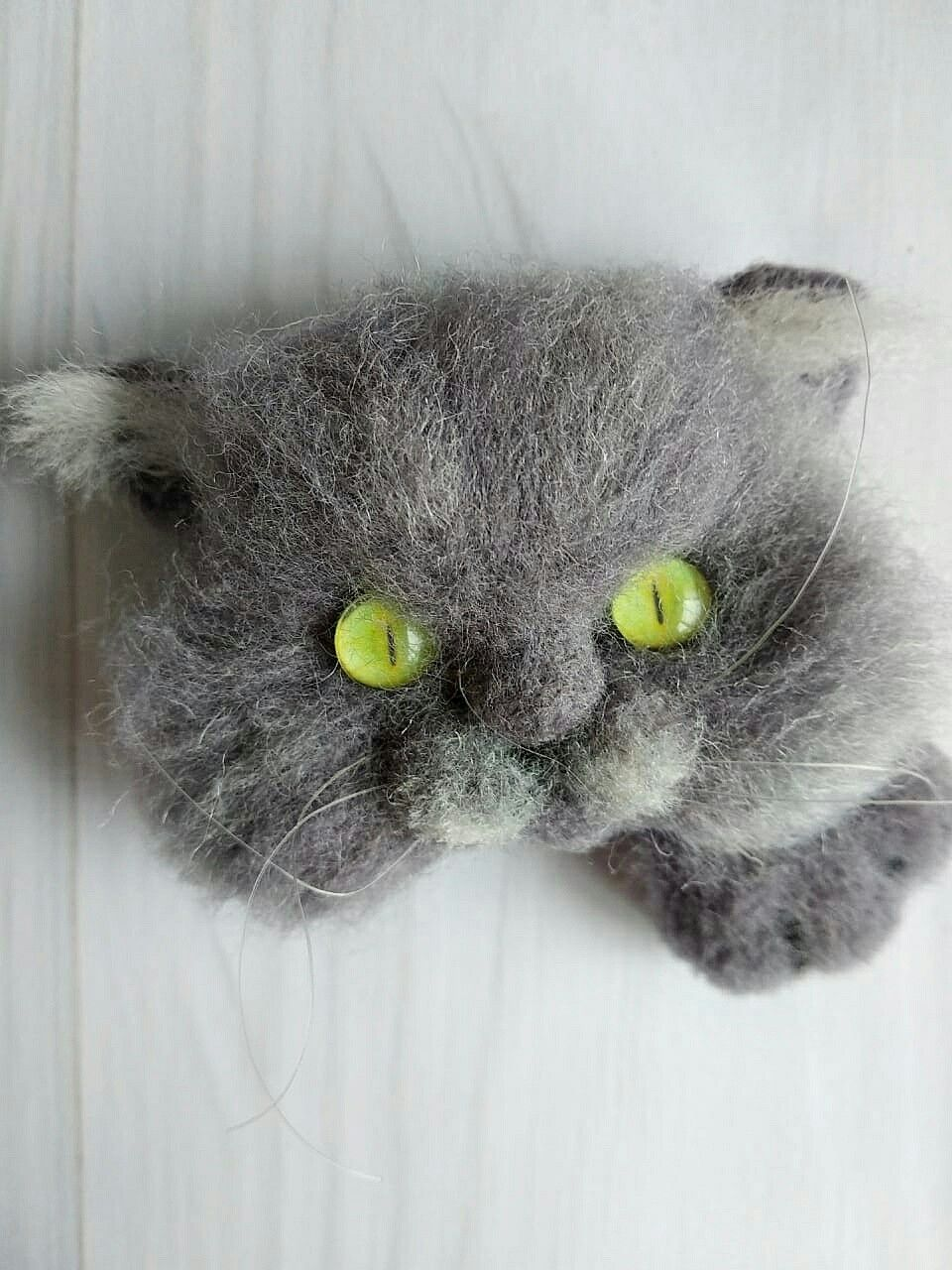 Cute needle felted grey cat brooch is a perfect unusual