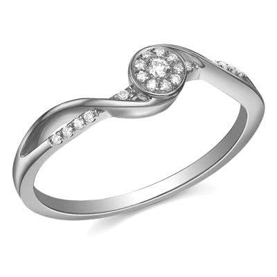 14K Gold H/I Color, I2-I3 Clarity Diamond Promise Ring (0.083 Carat)