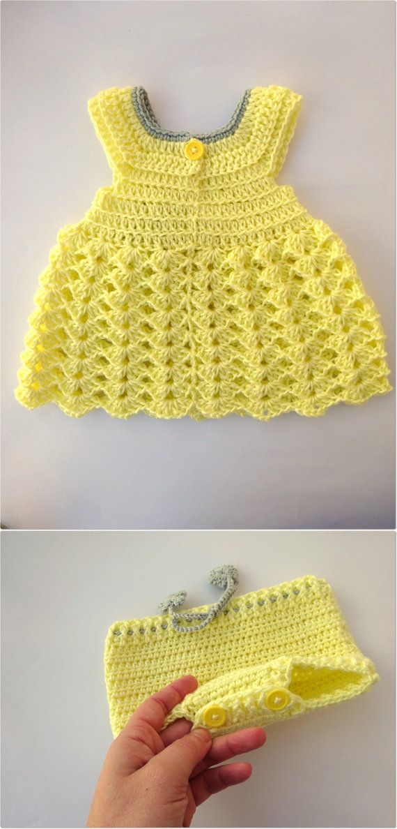 Dress and cover diaper set in crochet - Newborn to 3 months - Cute ...