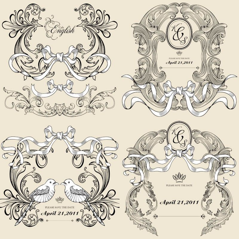 Vintage decorative wedding frames vector vector design art vintage decorative wedding frames vector vector design art wedding vector diy junglespirit Images