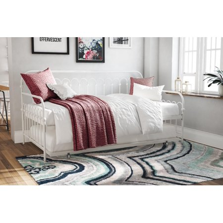 Novogratz bright pop metal daybed and trundle twin, white