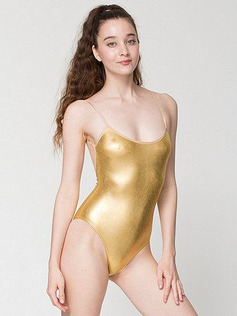 Shiny Spaghetti Strap Bodysuit in Lame Gold by  AmericanApparel Cali Sun    Fun 2e20e104f