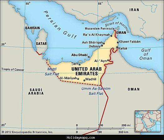 cool united arab emirates map