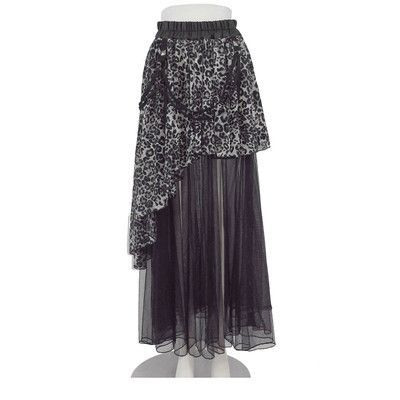 Women Two Piece Steet Fashion Japanese Harajuku Punk Style Asymmetrical Long Skirt LEOPARD & Mesh Voile Skirts