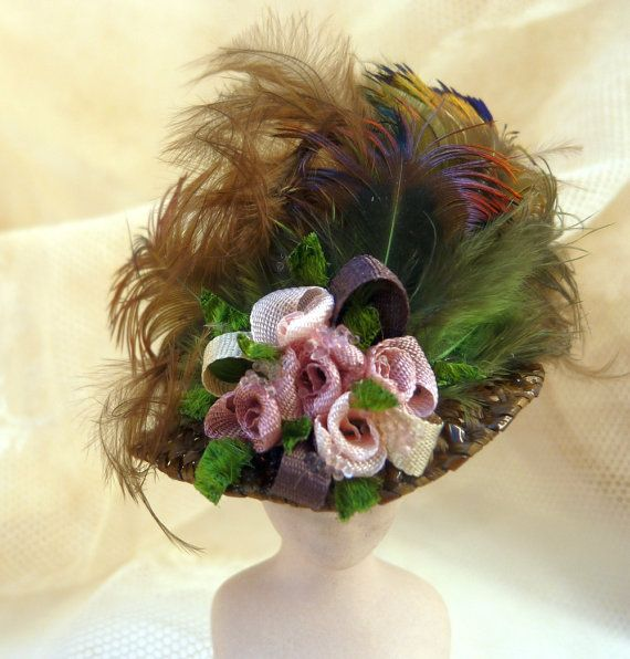 Miniature Hat - Dollhouse Hat - VIctorian Hat - Doll Hat - 1/12 Scale Miniature - Brown Hat - Pink Roses