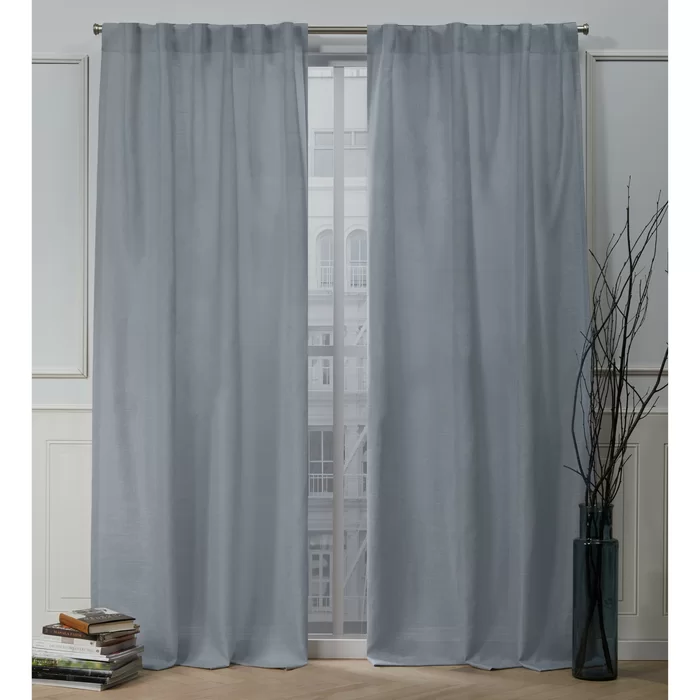 Faux Linen Slub Solid Color Semi Sheer Tab Top Curtain Panels In