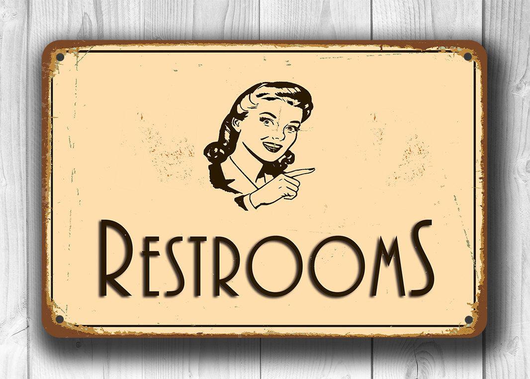 RESTROOM SIGN, Restroom Signs, Vintage Style Restroom Sign, Directional Restroom  Sign, Toilet