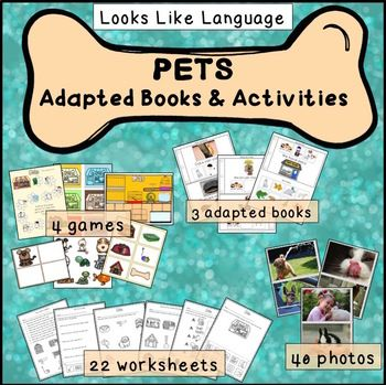 A pet theme set with games, adapted books, photos and worksheets - great for limited readers! $