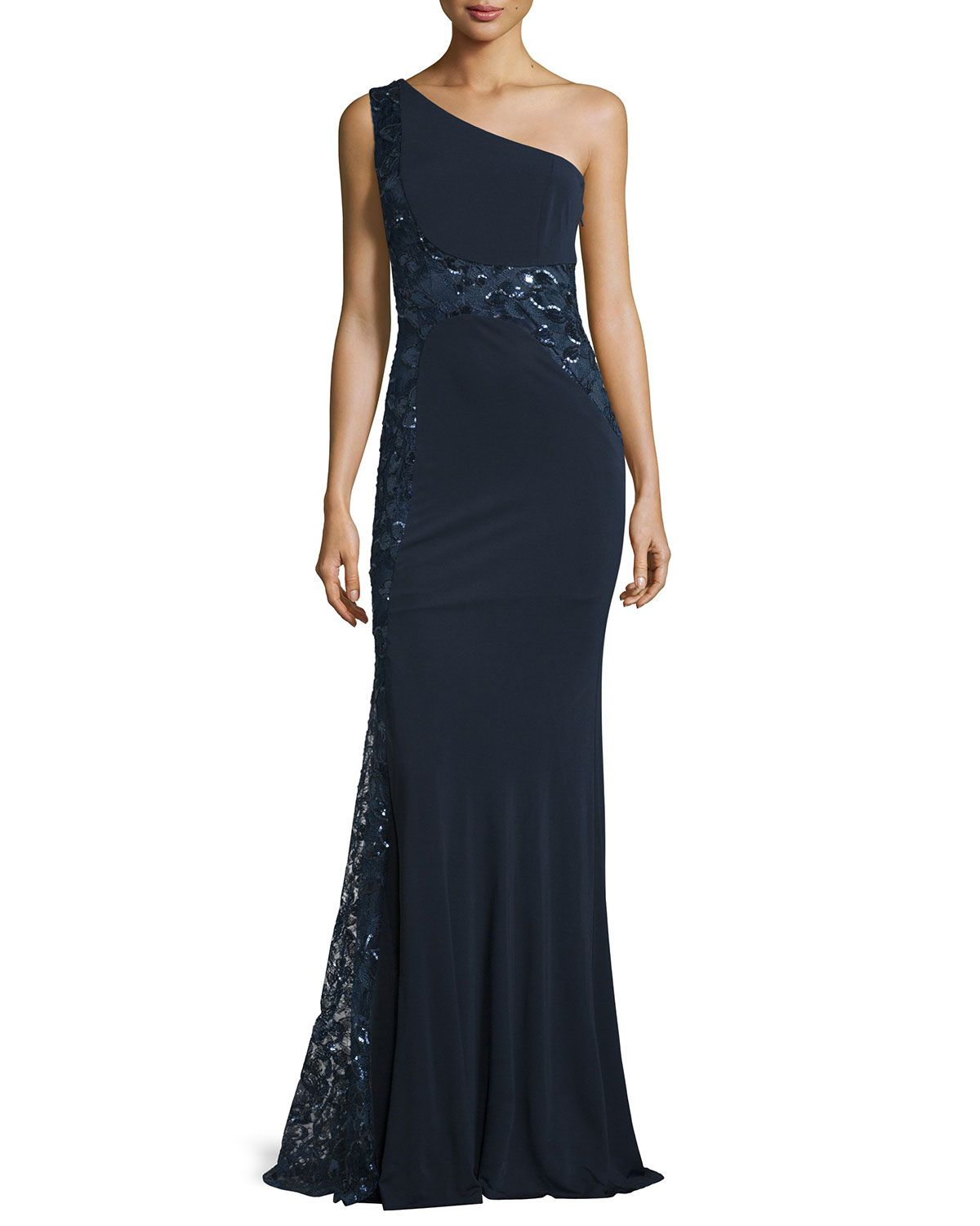 f6c2ebddc95c David Meister One-Shoulder Sequined Embroidered Gown   Event ...