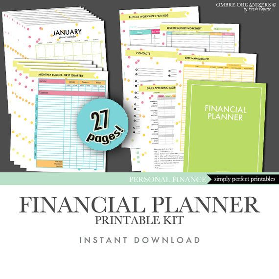 Personal Finance Organizer Printables - Complete Kit - Instant - Download Budget Spreadsheet