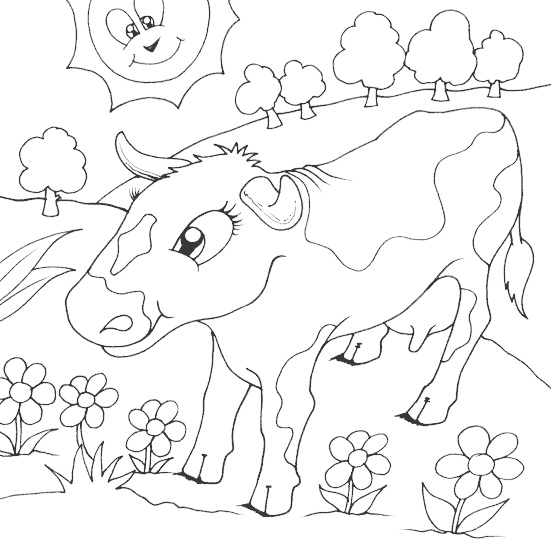 cow in field of flowers coloring page coloring com my coloring