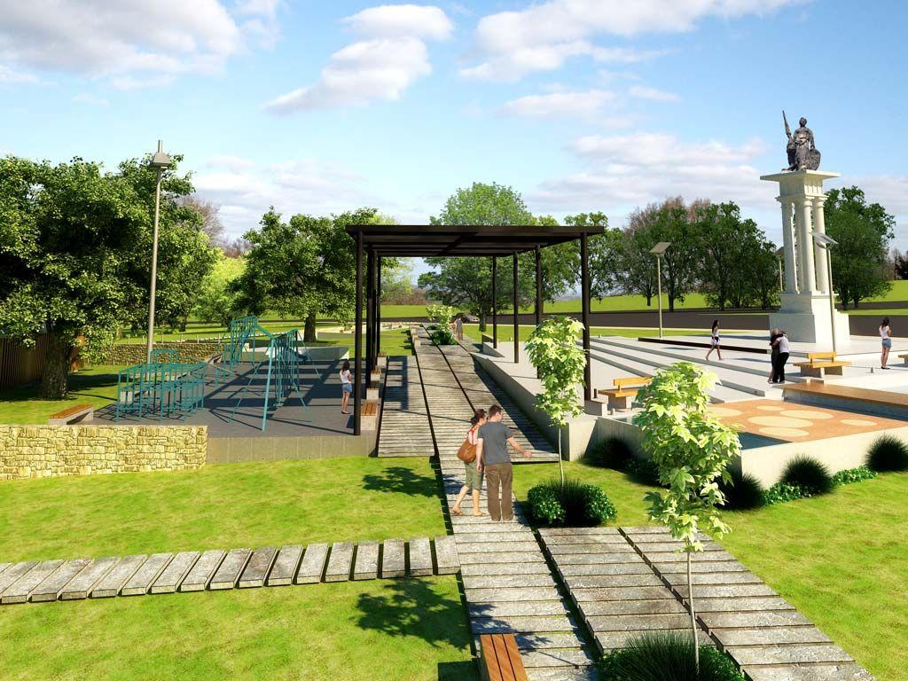 Dise o de plazas y parques modernos buscar con google for Mobiliario espacio publico
