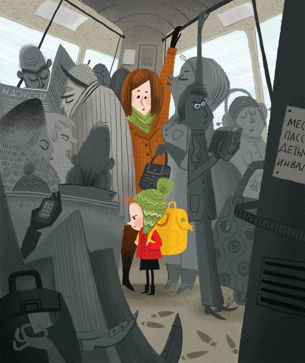 By bus by Olga Demidova, via Behance