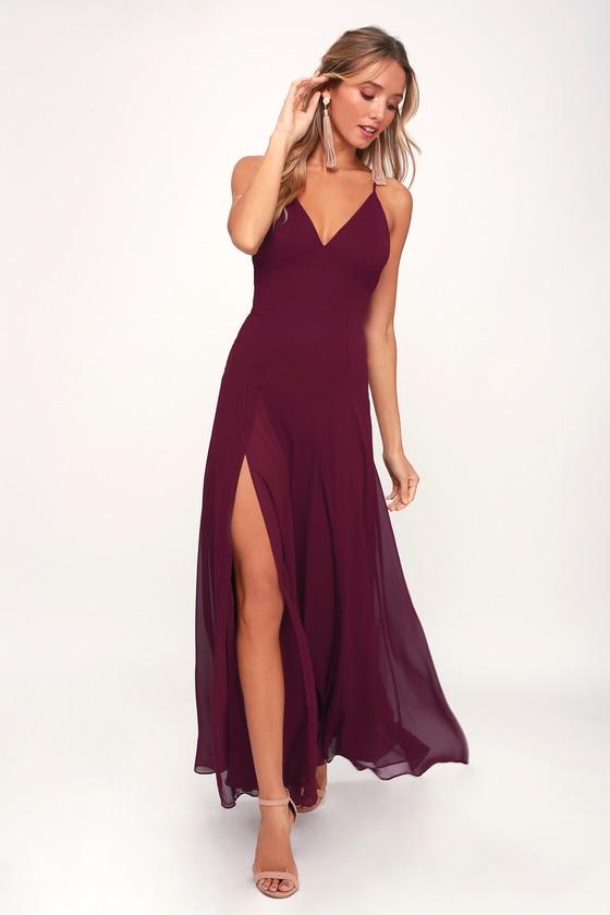 0859d1dbe1 Lovely Still Burgundy Sleeveless Maxi Dress $72 style 616012 Kayla Wedding