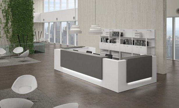 Workspaces, Modern Medical Office Design With Chic Reception Desk Design  And Contemporary Pendant Lighting: