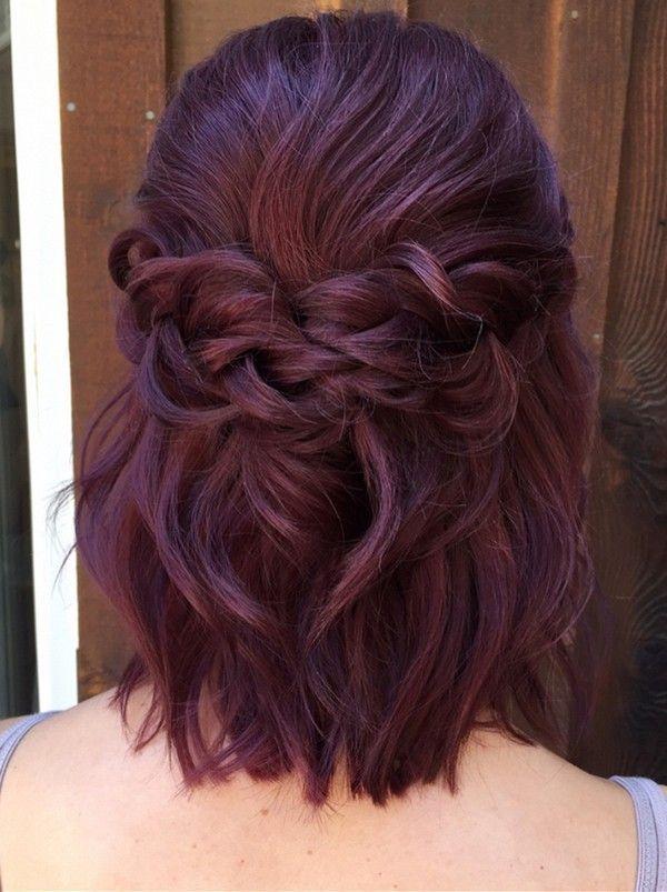 halb nach oben unten geflochtene Hochzeitsfrisur für kurzes Haar #Hochzeitsfrisuren