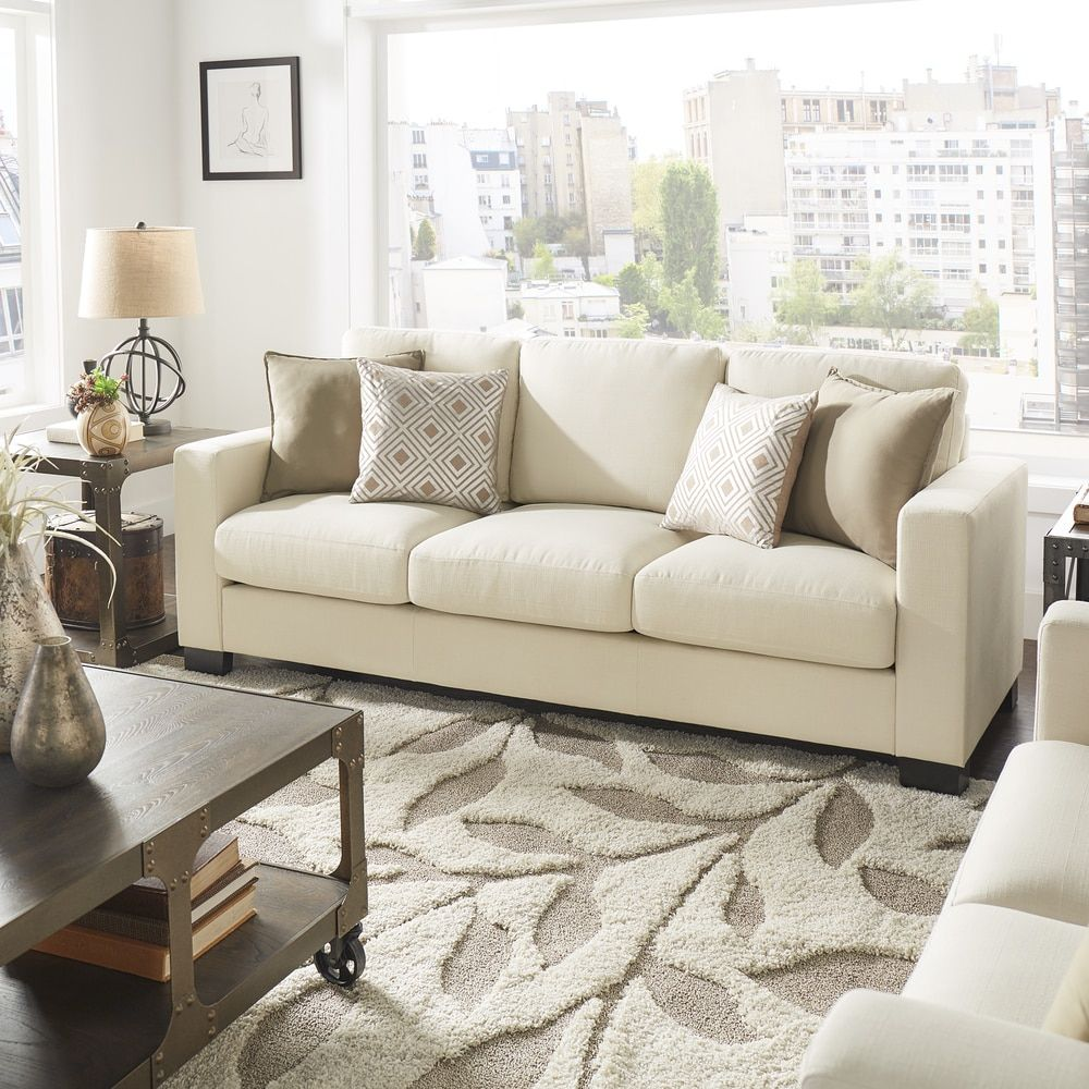 Torrington White Linen Fabric Down Filled Track Arm Sofa by INSPIRE Q.  Furniture OutletOnline FurnitureApartment LivingApartment IdeasLinen ...