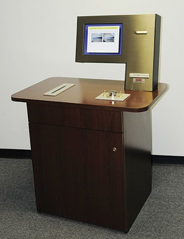 This Patron Self Check System Comes As A Stand Alone Kiosk Or Built In Unit To Install An Existing Desk Surface Patrons Simply Use Their Library