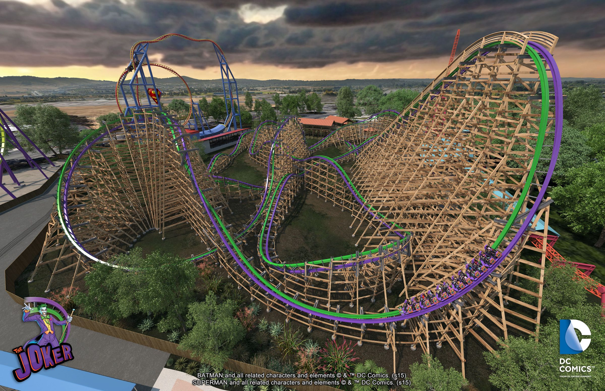 The Joker is a hybrid wood and steel coaster coming to Six Flags ...