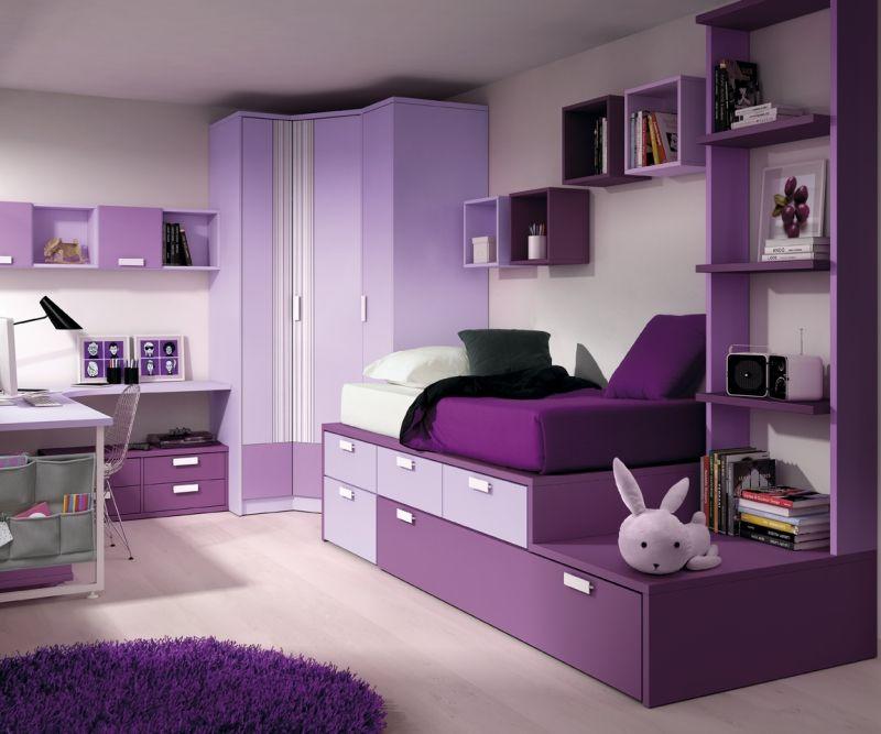 dormitorio juvenil con cama compacta tipo torre, armario rinconero y