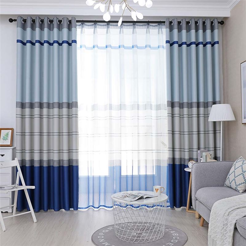 Nordic Max Blackout Curtain Stripes Printed Curtain Bedroom