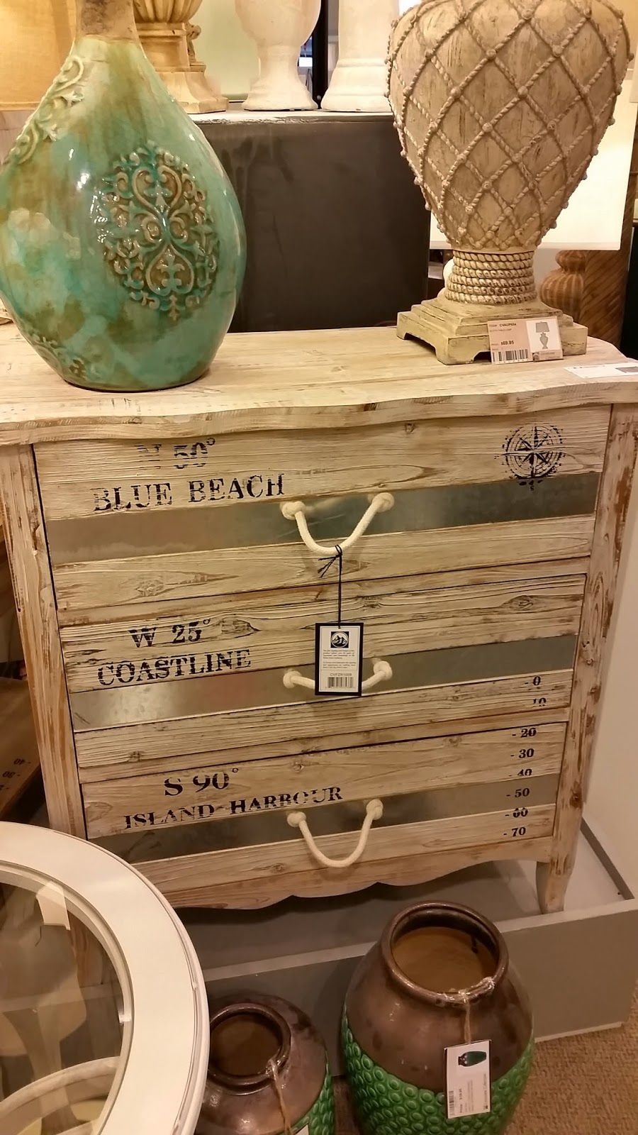 Rustic beachy dresser found at furniture markets by carons beach house