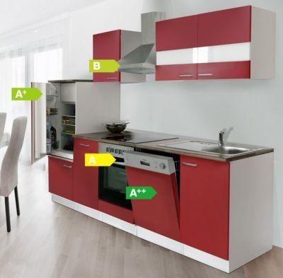 Respekta Küchenzeile KB280WRC 280 cm Weiß - Rot mit Glaskeramik - küchenblock 260 cm