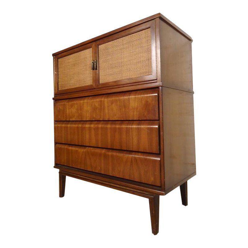 Cane front tall midcentury dresser mid century dresser