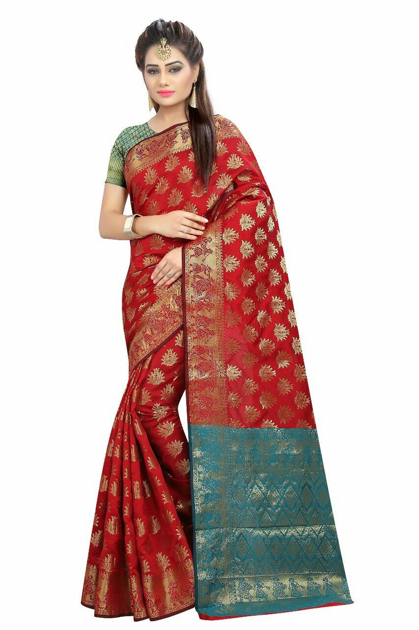 6c42b9bffefcc Banarasi silk Saree s And contrast color Pallu With Blouse Wholesale  Selling Price -999 Contact Me No.9712925235