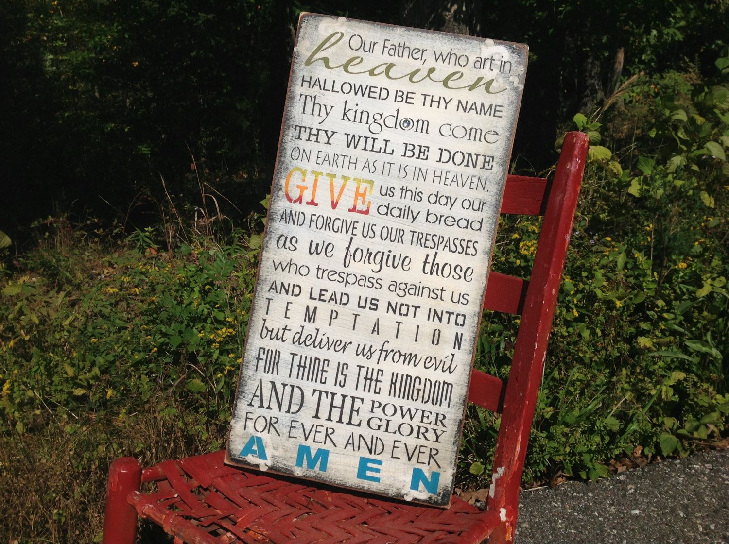 Our father who art in heaven...rustic sign by KerriArt on Etsy, $45.00
