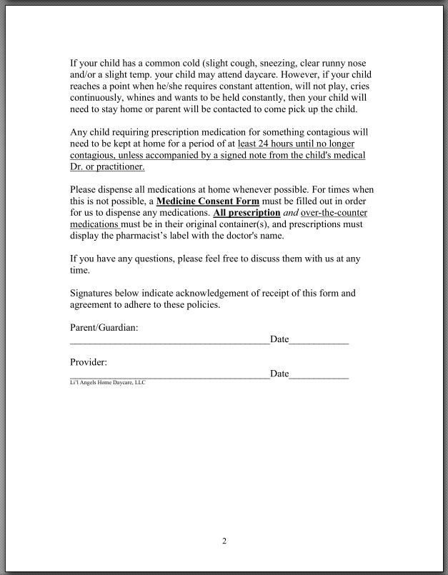 Liu0027l Angels Home Daycare-Sick Child Policy Children Pinterest - medical consent form template