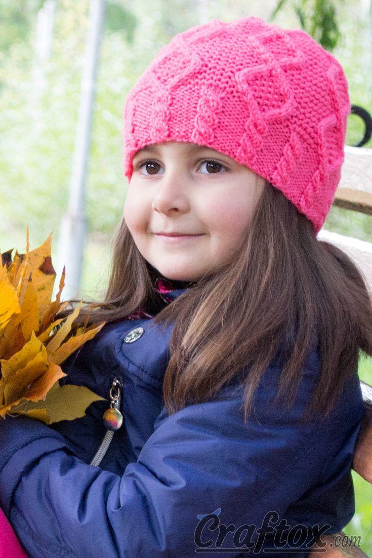 Beanie for girl \'Berry\'. | Knitting for beginners | Pinterest ...