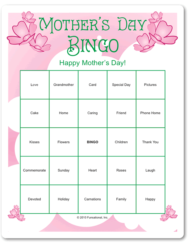 image regarding Free Printable Mother's Day Games for Adults referred to as Moms Working day Bingo Moms working day Moms working day game titles