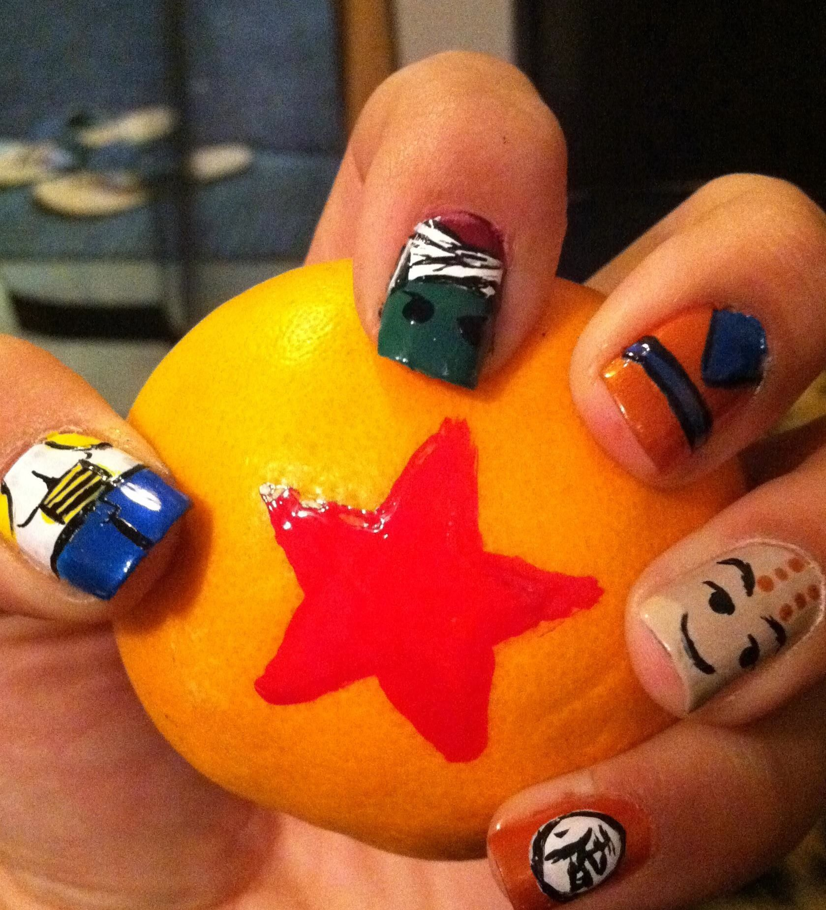 Dragon Ball Z Themed Nails Uñas