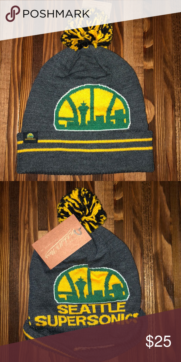 5fc98a960331aa Seattle SuperSonics Black Heather Hi-5 Pom Knit Every fan  wardrobe/collection needs at least one lively fan item and the SuperSonics  Mitchell & Ness Black ...