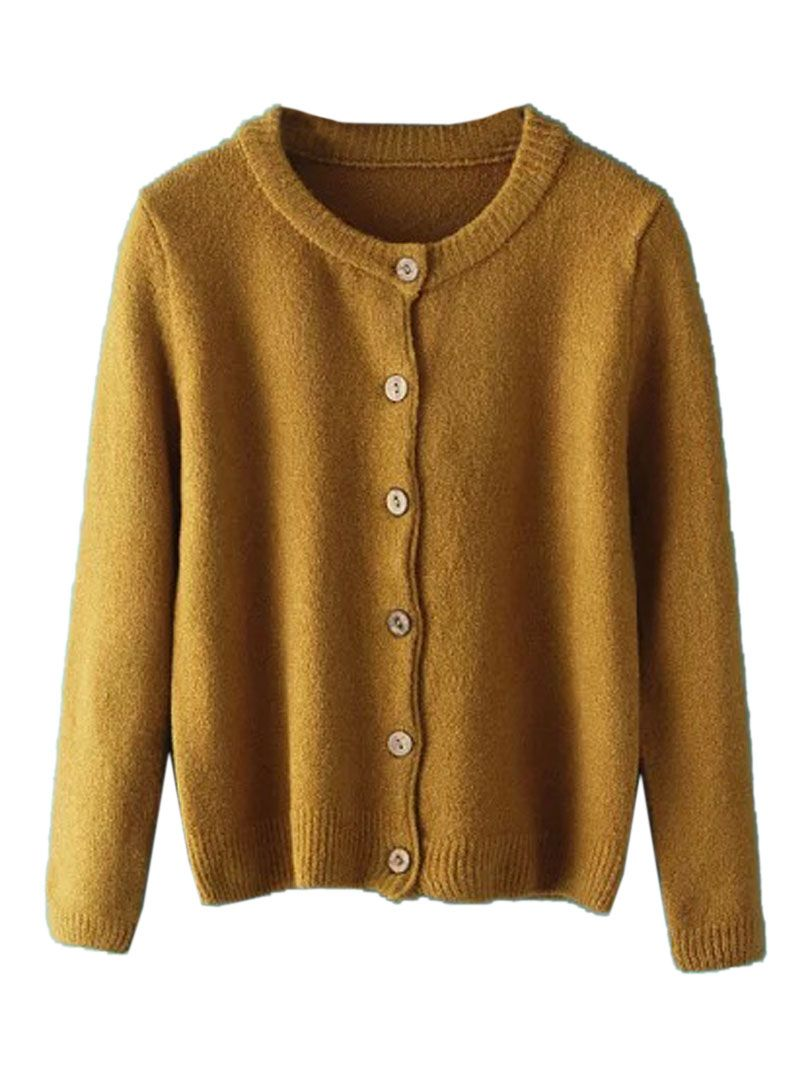 Brown Long Sleeve Button Up Knit Cardigan | Great outfits | Pinterest